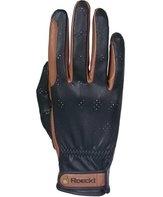 Летние  Перчатки Roeckl кожа чёрные/коричневые