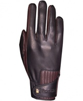 Летние  Перчатки Roeckl кожа чёрные/т-коричневые